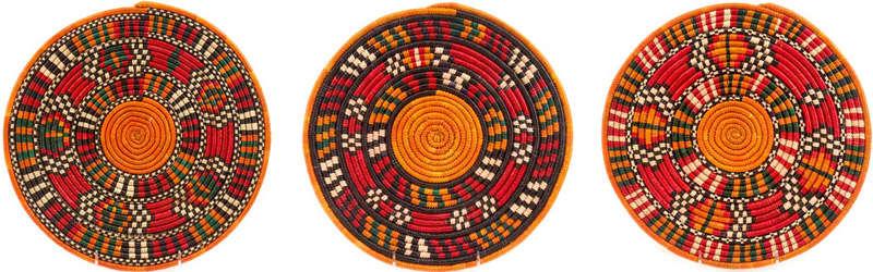 cestas de colores de los nuba de sudan