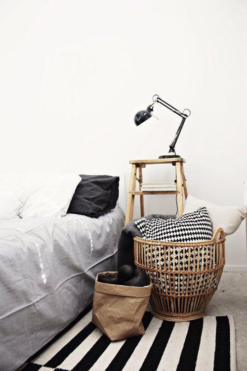 Cestas de mimbre para decorar los dormitorios