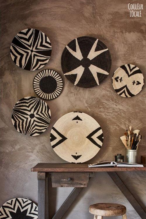 decorar las paredes con cestas africanas