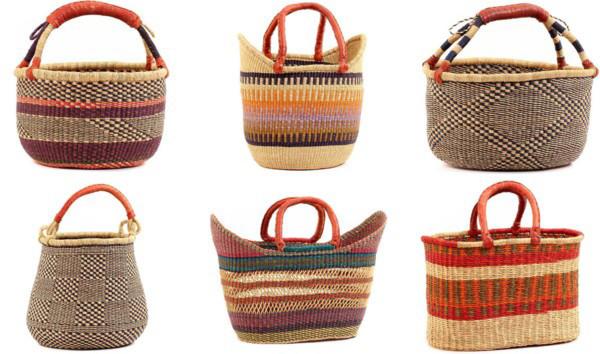 cestos de colores de la tribu bolga de africa