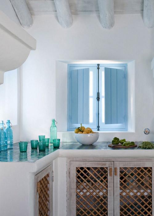Azul y blanco en la cocina