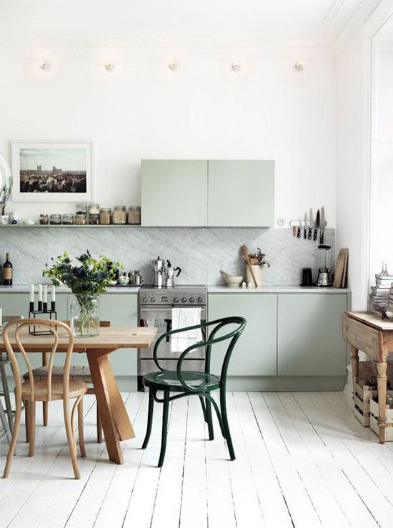 El color verde en la cocina de estilo escandinavo