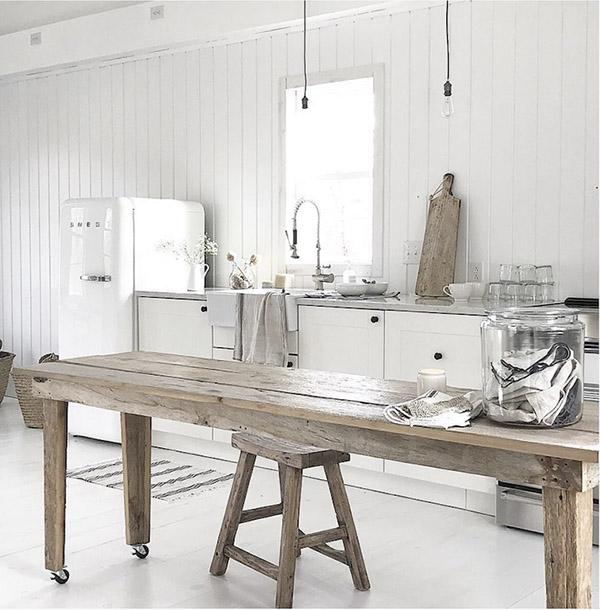 cocinas blancas en la decoración de casas