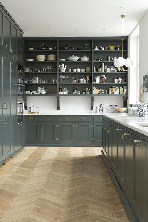 color verde en una cocina de estilo rústico