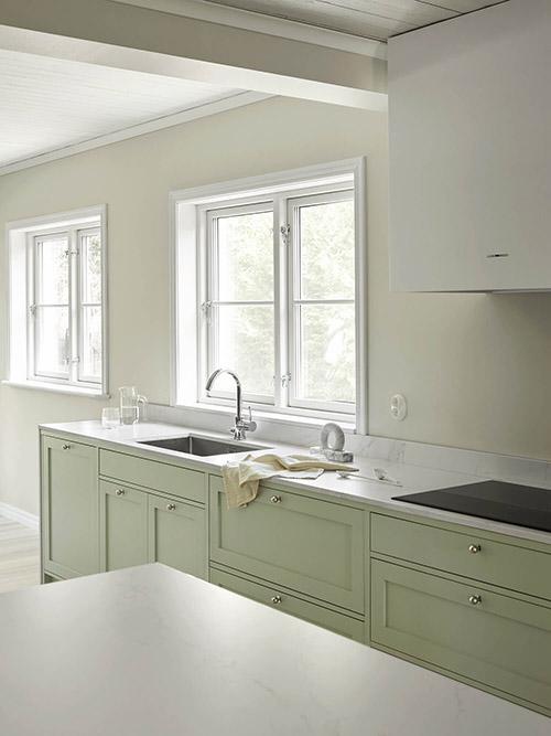 cocina nórdica de color verde