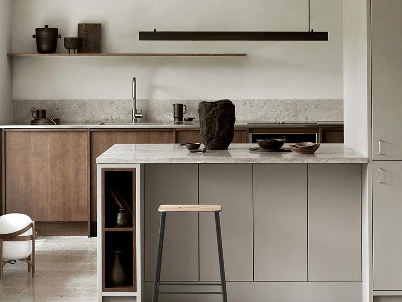 Cocina rústica moderna de lineas simples y depuradas
