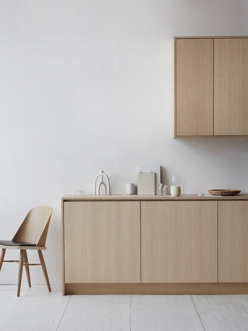 Cocina de madera de diseño minimalista