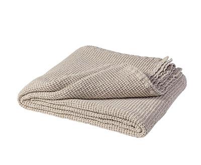 colcha bouti de algodón y lino de color beige