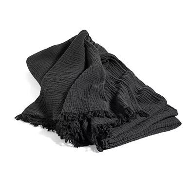 cubrecama de algodón arrugado de color negro