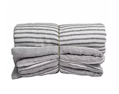 funda nórdica de lino lavado con rayas