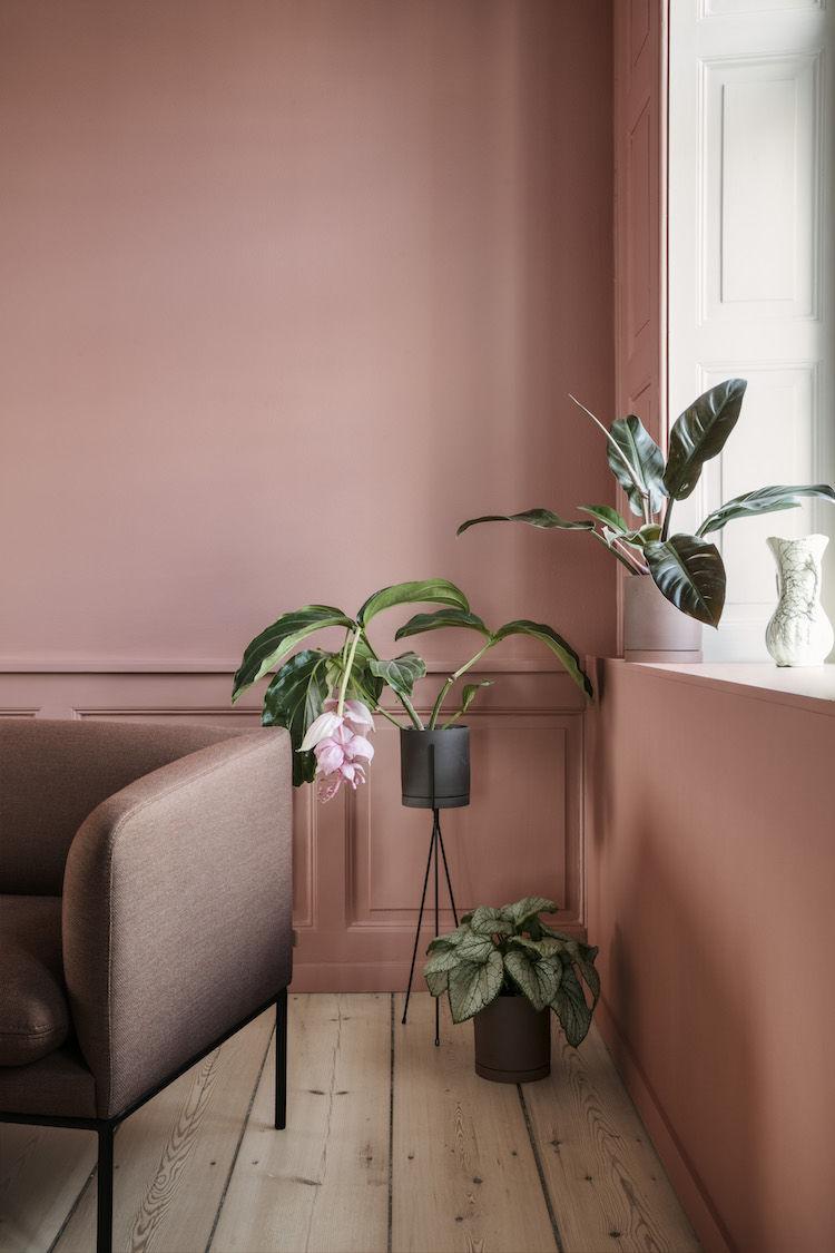 Color rosa para decorar y pintar las paredes en las casas nórdicas