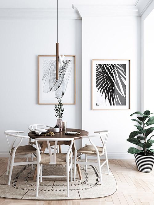 sillas de comedor de madera de color blanco
