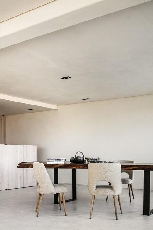 decoración de un comedor de estilo minimalista