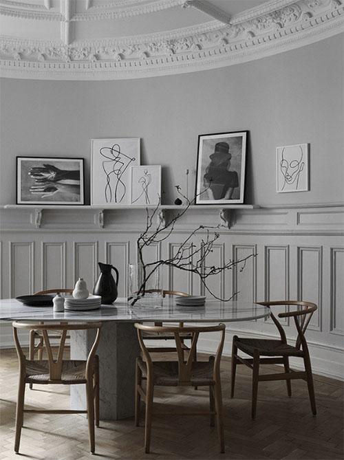 Mesa y sillas de comedor de diseño moderno