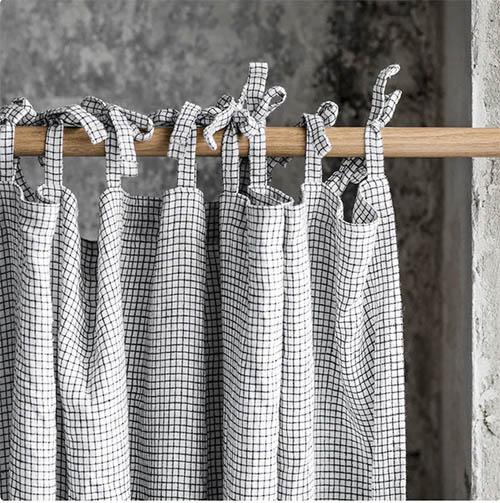 cortina de tejido de lino estampado