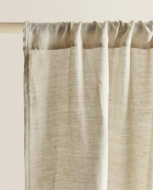 cortina de lino de color natural