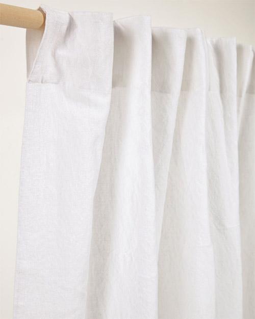 cortina de tejido blanco de lino natural