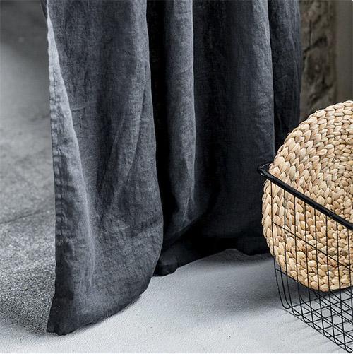 cortina color gris oscuro de lino