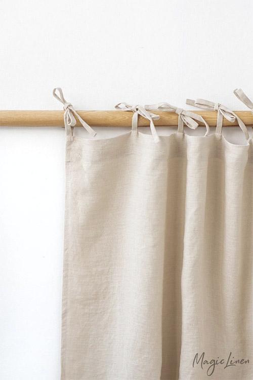 cortina de tela de lino natural
