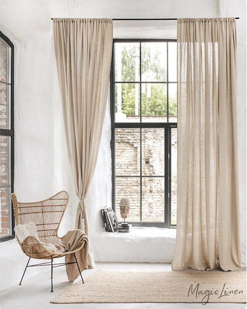 decoración de casa con cortinas de lino