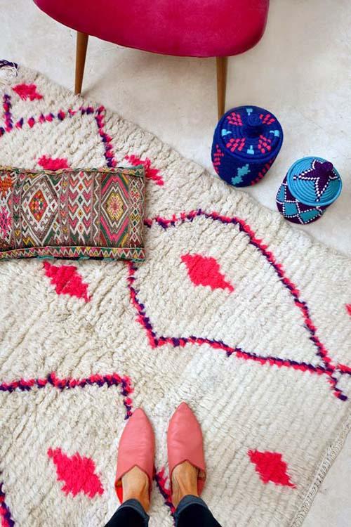 Decoración con alfombras bereberes Azilal de Marruecos