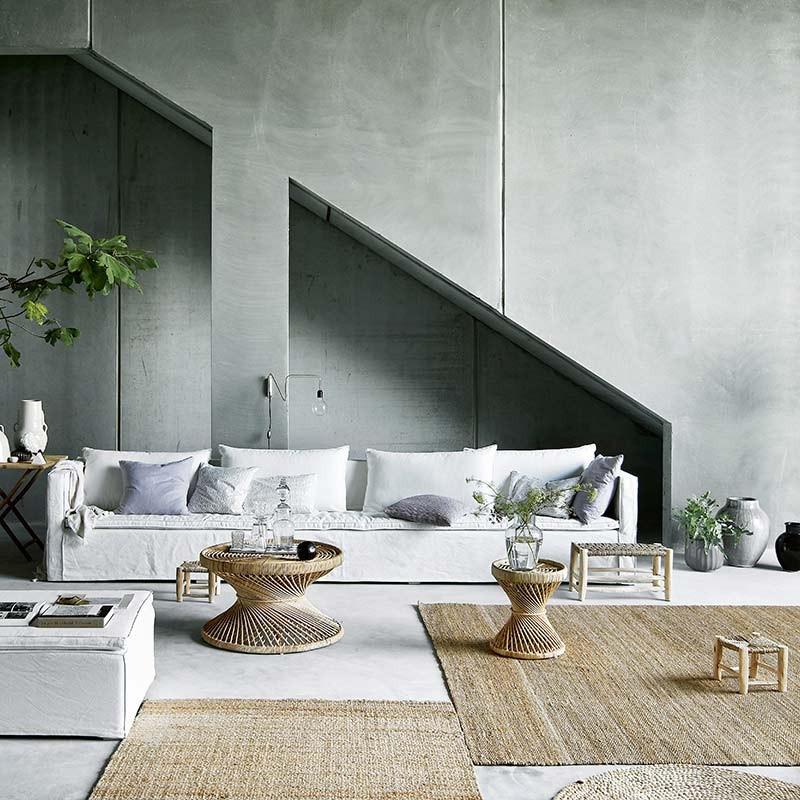 cómo decorar con alfombras de yute