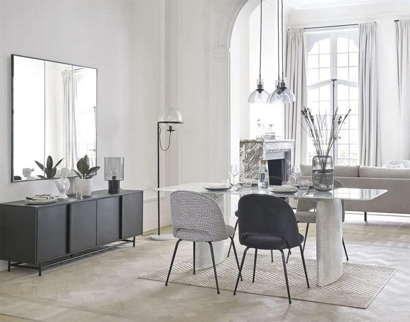 decoración nórdica minimalista con muebles de mármol