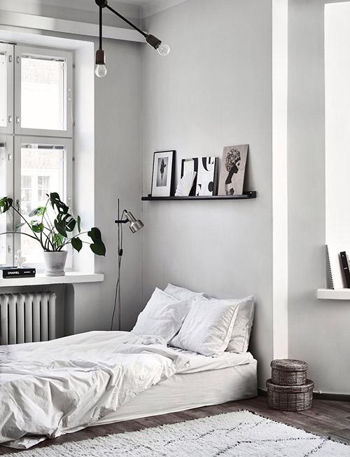 dormitorio gris blanco