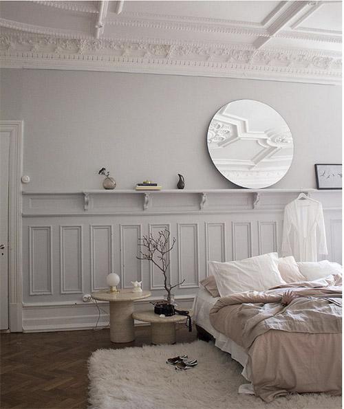 dormitorio en gris claro