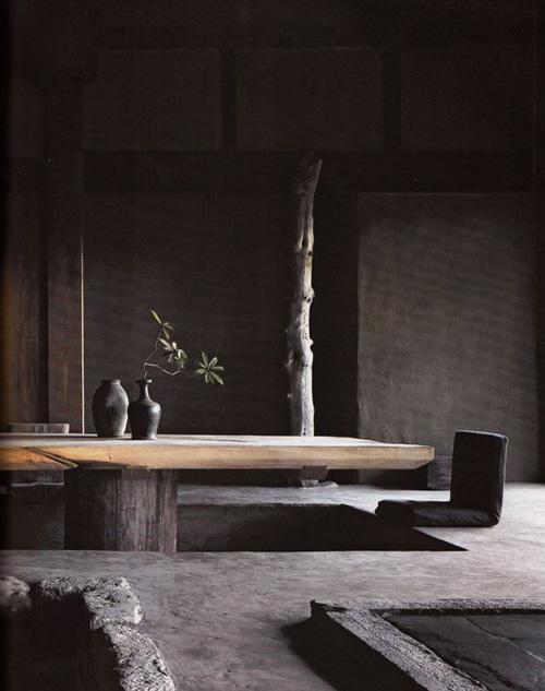Interiores minimalistas de estética wabi sabi