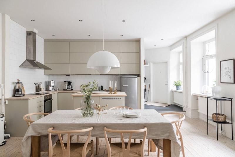 cocina nórdica con muebles de diseño escandinavo