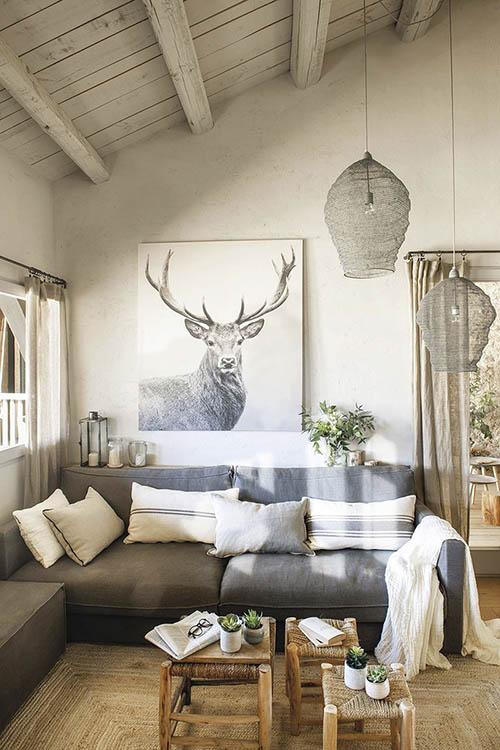 cómo decorar un salón rústico