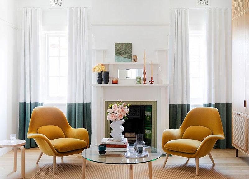 decoración de interiores con el color amarillo mostaza