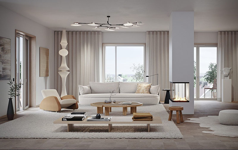 Decoración de un salón moderno con muebles de diseño y colores neutros