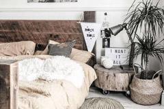 troncos de madera y la decoración del hogar