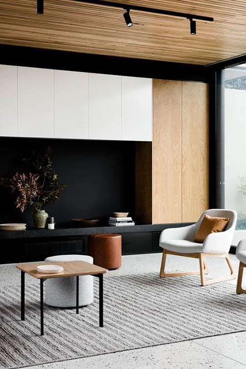 Decoración minimalista y muebles escandinavos en un salón
