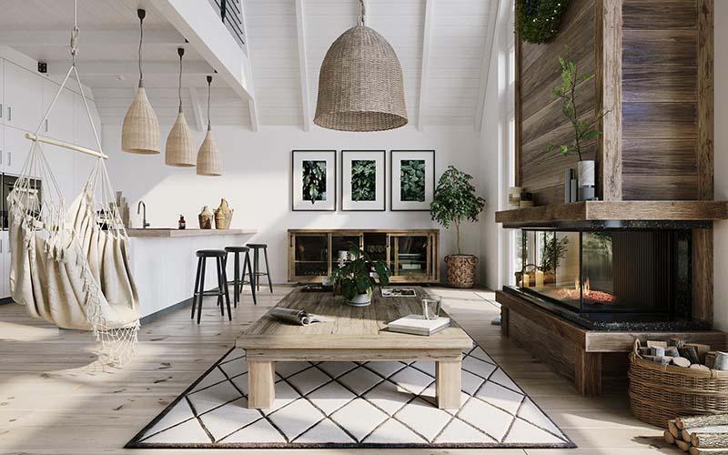Casa decorada con un estilo rústico escandinavo