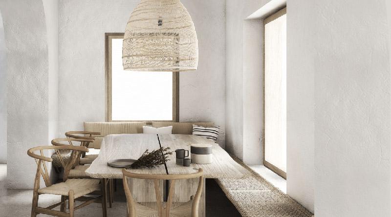 madera y mimbre en una casa de veraneo