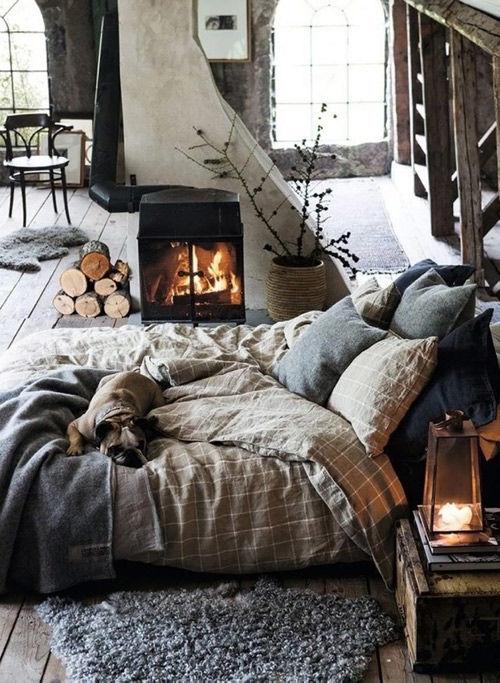 disfrutar de la cama en los hogares hygge