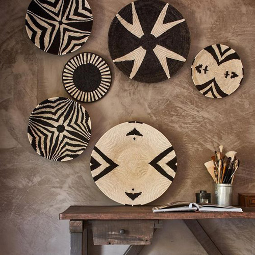 african baskets wall