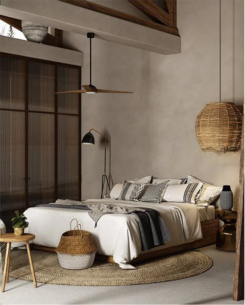 cojines étnicos para un dormitorio de estilo boho chic