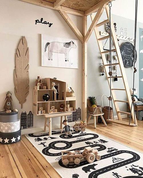 habitación infantil con muebles de madera
