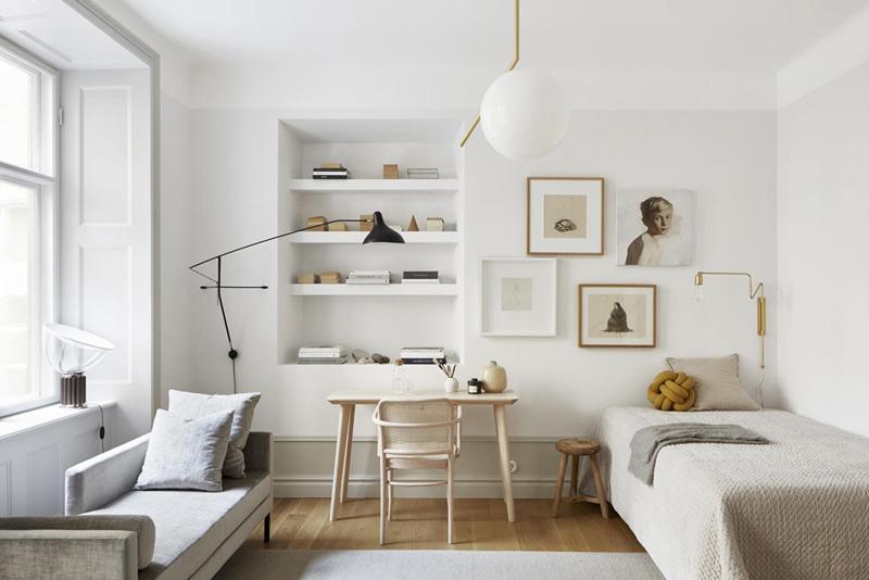 Decoración minimalista en un dormitorio