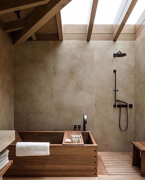 cuarto de baño de estilo rústico moderno
