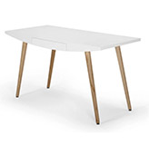 escritorio blanco con patas de madera de roble