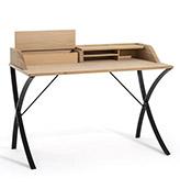 escritorio de madera con patas de metal
