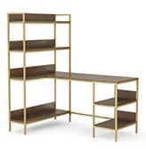 escritorio de esquina ajustable de madera y latón
