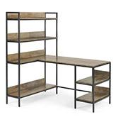 escritorio de esquina ajustable de madera y metal