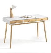 escritorio estilo nórdico blanco con tres cajones