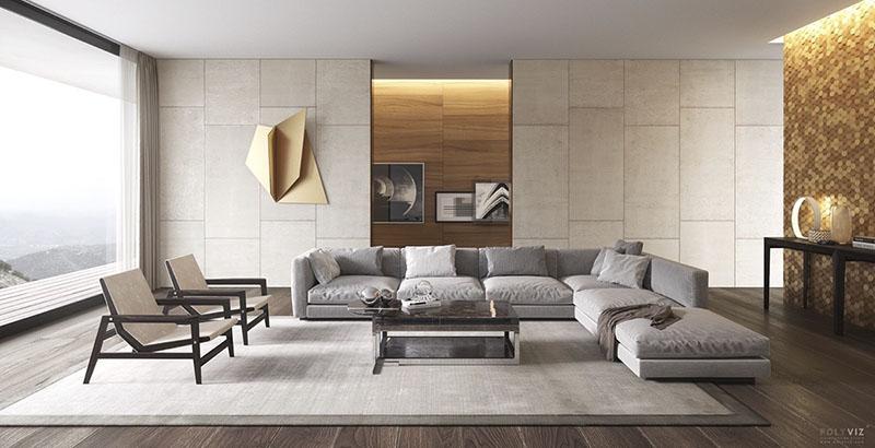 Un salón en color gris y muebles de diseño